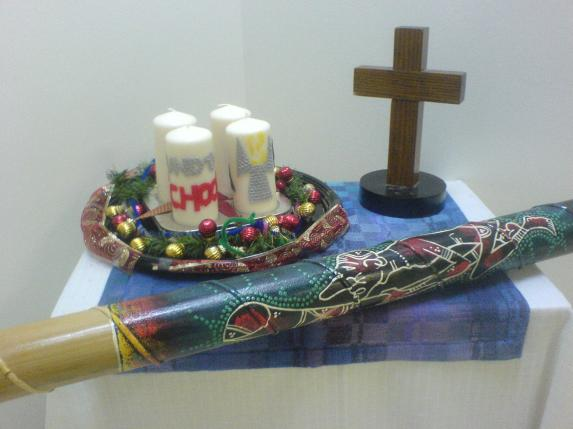 The Sunday School altar, dressed for Advent.